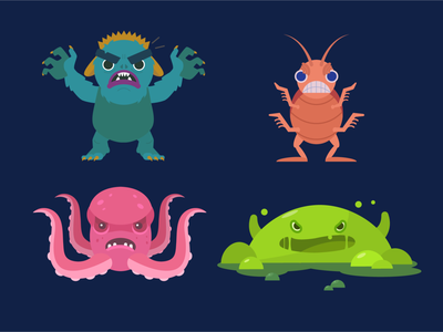 Monsters scary monster bo ugly animals villian illustration
