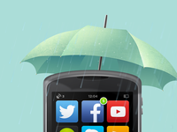 Wet smartphone.