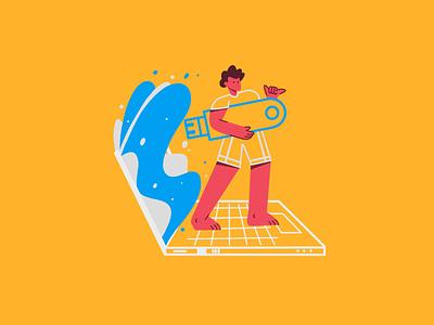 USB Surfer usb laptop tech surfer surf illustration character design