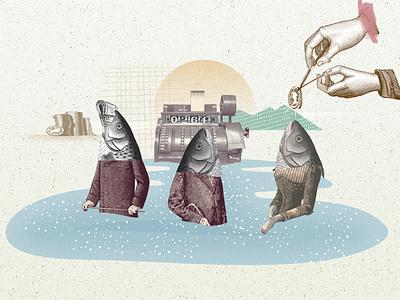 Corporate fishing explainer animation collaboration collage art collage collageart