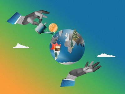 Taking care climate change nature globe hands care take earth motion graphics art direction collage