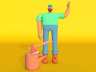 Lumberjack cinema 4d 3d motion graphics character design character