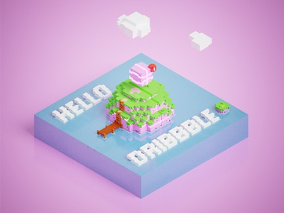 Hello Dribbble! world island game video game render invite pixel voxel debut hello dribbble