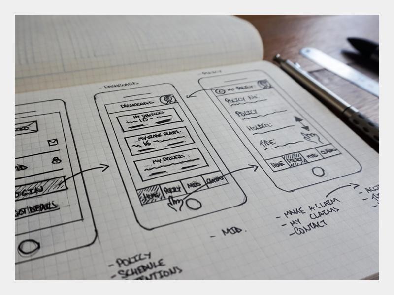 Motor Claims Initial Sketch wireframe ux experience user sketchpad sketchbook sketch pencil moleskine drawing design