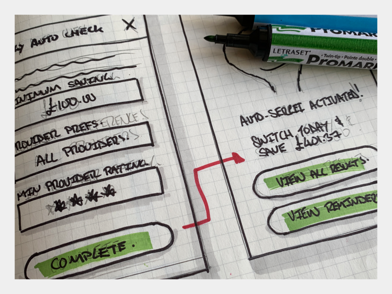 Designing AutoSergei's EnergyCheck - Sketch 02 wireframe ux user experience user useflow ucd sketchpad sketchbook sketch sitemap process pencil moleskine insurance information flow experience drawing design architecture
