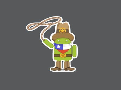 Texan Android Sticker texas flag cowboy hat cowboy boots rabbit jackrabbit western texas texan lasso bugdroid bandana android