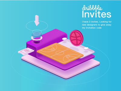 Invite the new dribbble dribbble isometric invitation giveaway draft invite