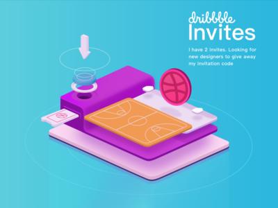 Invite the new dribbble dribbble isometric invitation giveaway draft invite