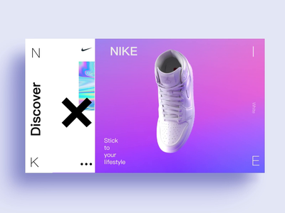 Nike discover page web display animated