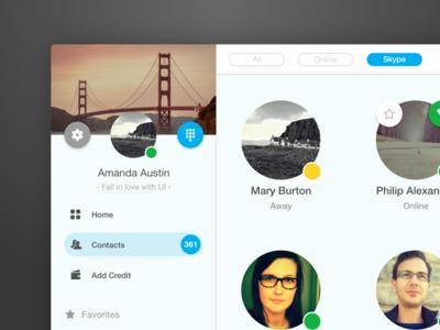 Skype - UI Concept design ui design tobia crivellari app design ui skype concept
