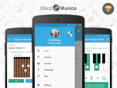 DiscoMusica - Free Sketch UI Kit music tobia crivellari freebie ui user interface design learning sketch material design android app