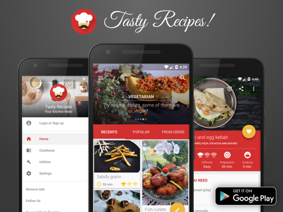 Tasty Recipes! - Android App design food tobia crivellari google play ui design android material design tasty recipes