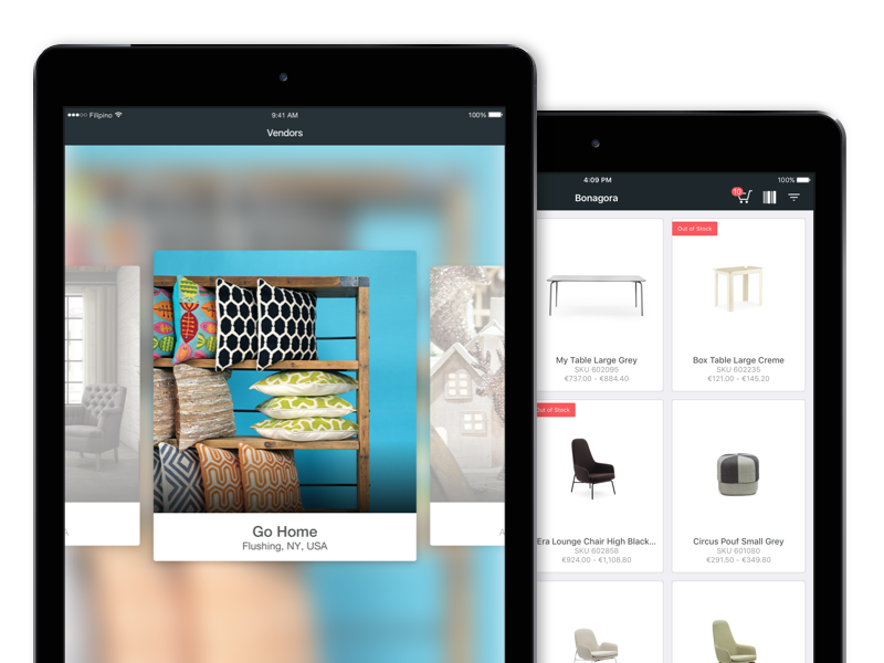 Bonagora POS for iOS - Multi-Vendor Access home décore ios shopping ui ui design design house home furniture home fashion b2b bonagora