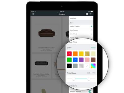 Bonagora POS for iOS - Showroom Filters