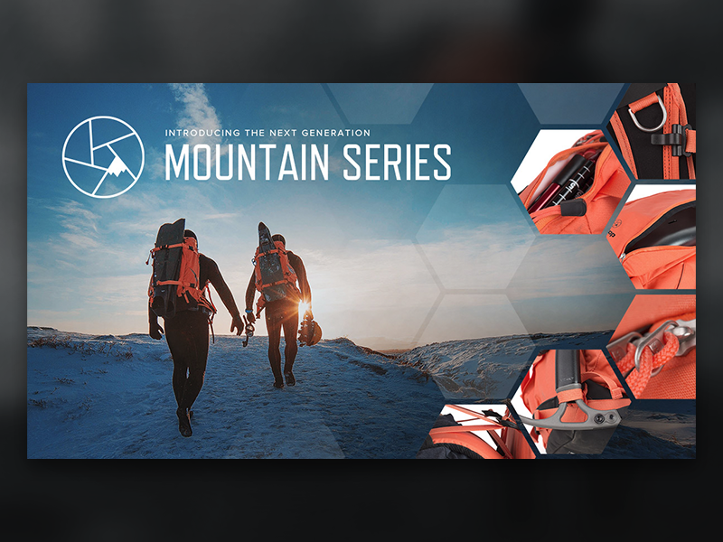 Announcement Graphic : New Mountain Series banner graphic social gear backpack photography f-stop pack bag camera