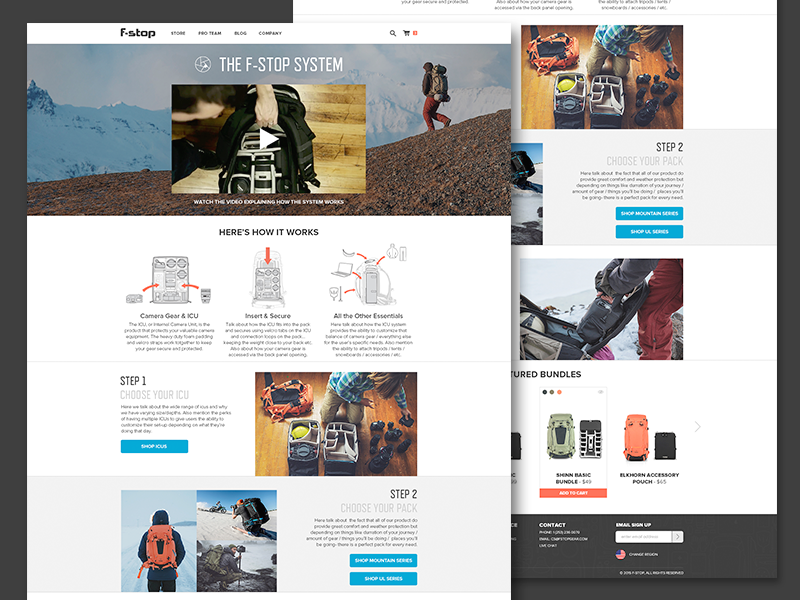 The f-stop system landing page product flat web design equipment photography how to landing page instructions website ui ux web
