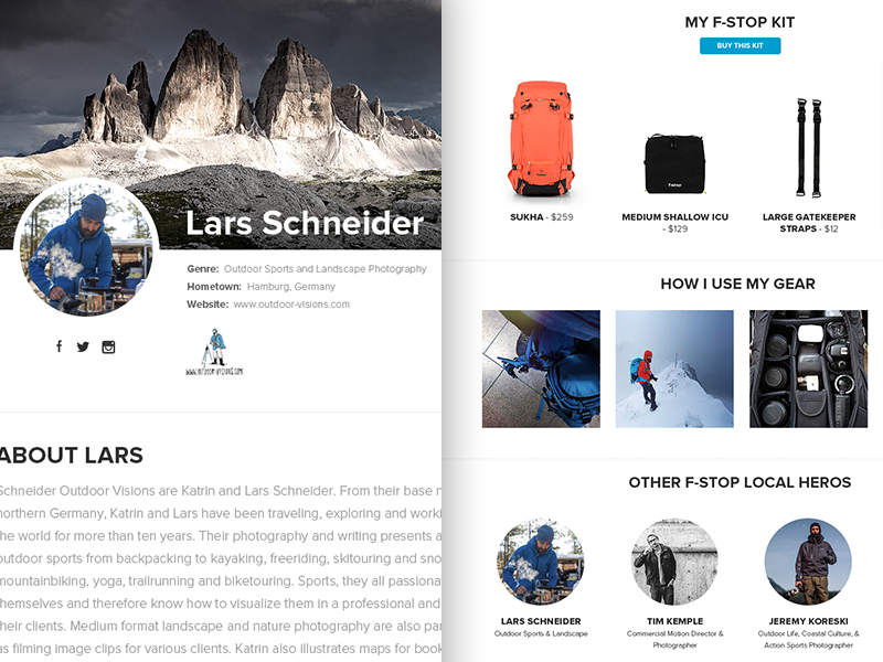 Profile page dribbble