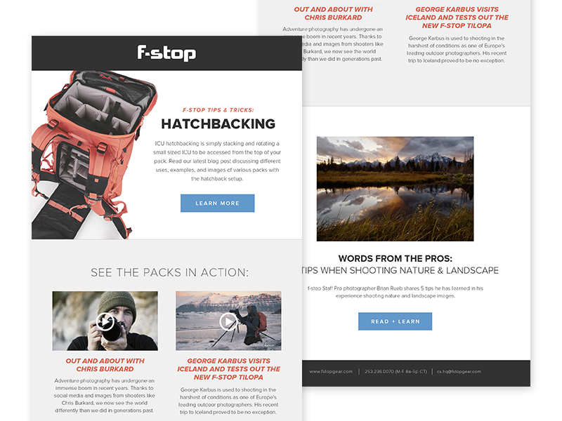 f-stop eblast flat e-mail product camera e subscription network campaign email newsletter eblast