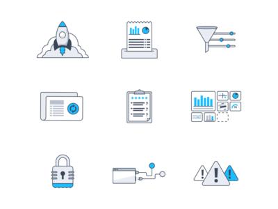 Icon / Illustration Work update alert lock privacy dashboard survey filter illustration icon report rocket