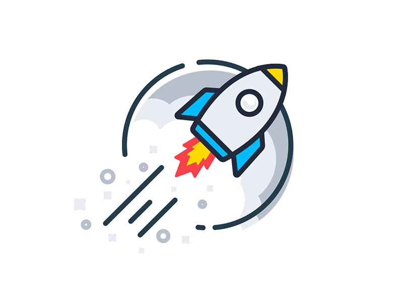 Rocket Illustration illustration moon smoke gray sprinkles fire blast start get started flat icon rocket