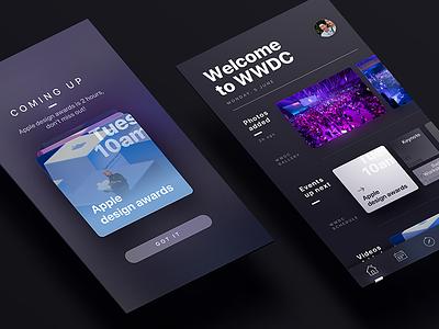 WWDC 2017 - App UI dark mode blue purple ios ux animal uiux ui apple