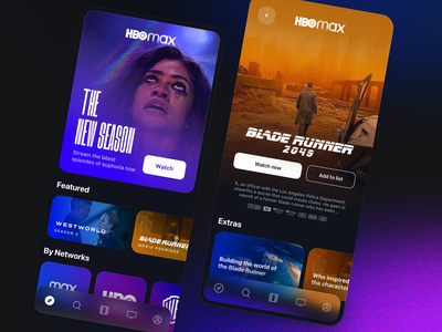 HBO Max - Movies, streaming, redesigned apple ios app ios15 ios app catelog purple shows tv youtube netflix dark browse streaming film movies hbo max hbo ux ui