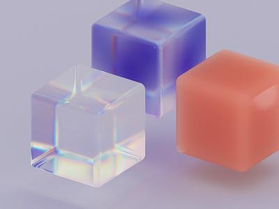 Cubes - 3D material exploration illustration iridescent design cinema4d render purple holographic wax material gradient glass c4d 3d