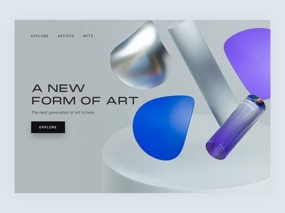 Minimal abstract geometric landing page - 3D branding shapes geometric abstract ui page landing blue clay material glass blender render octane cinema 4d 3d grey iridescent holographic purple