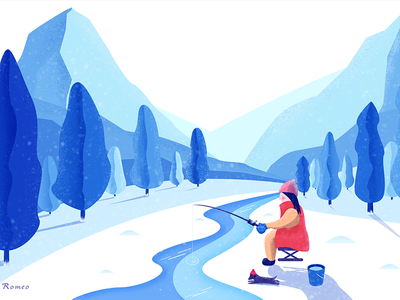 Angling illustration snow angling fish blue dog woods