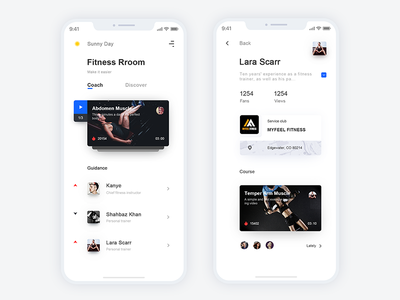 Fitness-4*3 fitness instructor bodybuilding health app ui list fitness room fitness exercise coach drill