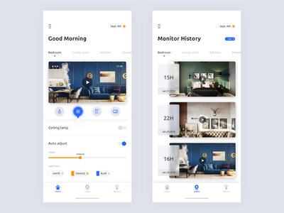 Smart Home System App Concept app concept flat interface ux smart home home lamp icon design app ui