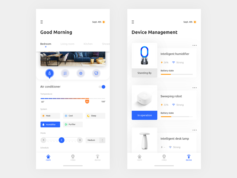 Smart Home System App Concept - Part 2 device smarhome queble branding user experience app design app concept interfacedesign interface ux ui