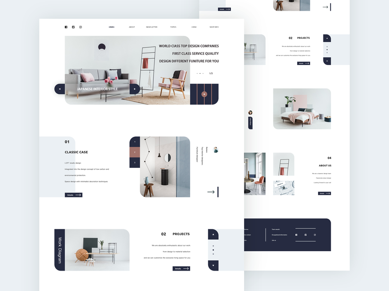 Interior Design Web Concept queble concept design website web design interior design product design inteface ux design ui