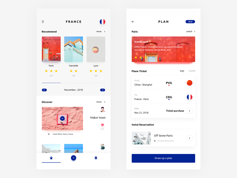 Travel plan plan travel design app ui