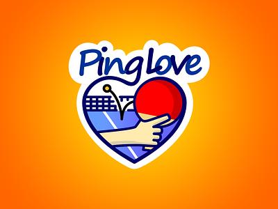 Ping Love design illustraion heart sport ping pong