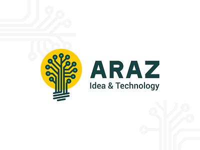 Bamdad Araz Logo design electronic tree lamp araz technology idea logo
