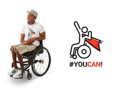 you can design white t-shirt man icon wheelchair
