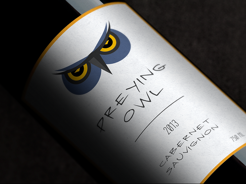 Preying Owl wine owl design logo branding