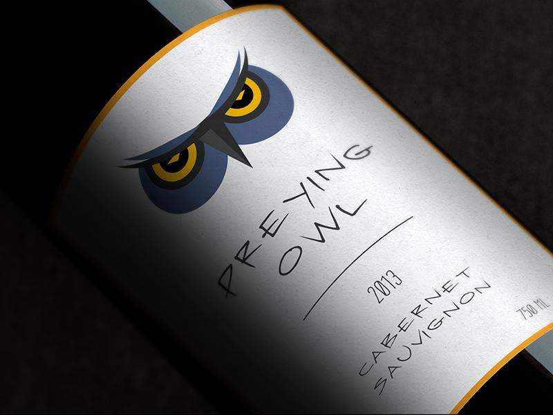 Preying Owl wine owl design logo branding