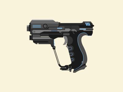 Halo Pistol gun gaming halo design illustration