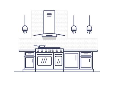 Modern Kitchen stove home kitchen graphic design illustration illustrator design