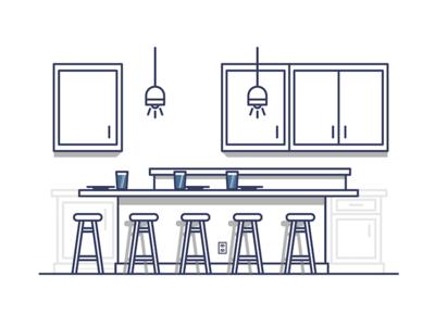 Breakfast Bar breakfast breakfast bar stool bar home kitchen graphic design illustration illustrator design
