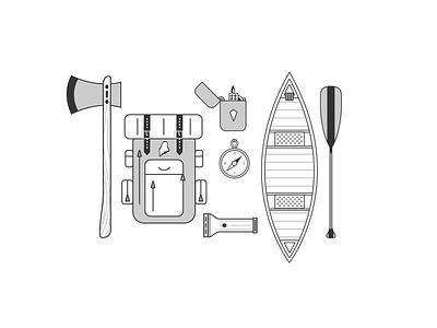 Simple Camping Illustrations  illustrator icons camping illustration design