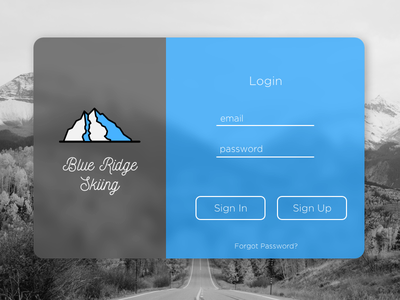 DailyUI #001 signup ridge blue skiing design ui daily dailyui