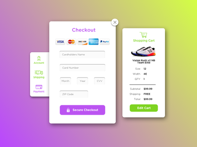 DailyUI #002 Credit Card Checkout credit card ui design ui sneakers design dailyui daily checkout