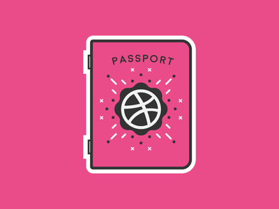 Dribbble Passport thick sticker stickermule playoff community line illustration discovery flat dribbble cute passport