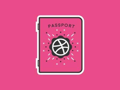 Dribbble Passport thick sticker stickermule playoff community line illustration discovery flat dribbble cute passport