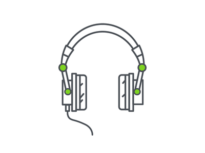 Headphones flat design illustrator illustration vector music headphones