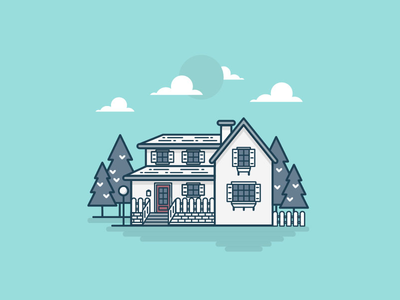 Home color tosca house image lines trees home graphic design illustration