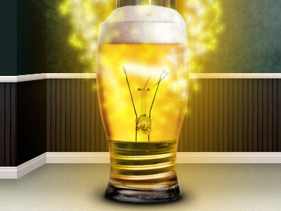 Beer Bulb - let the ideas flow! yellow glow stars beer light blub bulb graphics ideas web design sites light fire lager glass photoshop digital art photo chop